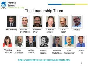 ASQ Montreal Section Leadership Team