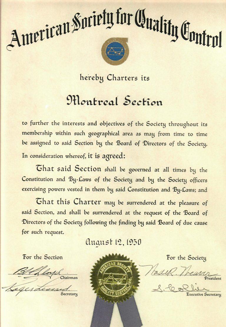 1950 : Notre charte de l'ASQC